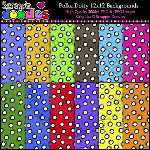 Polka Dotty 12x12 Backgrounds Color & Line Art