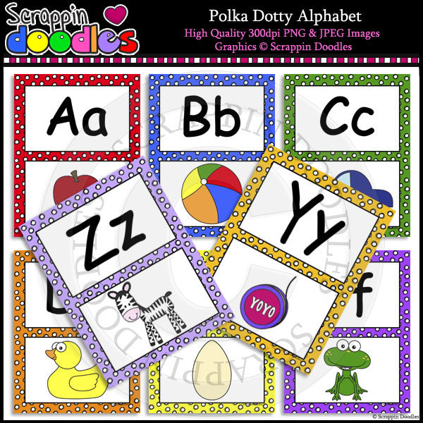 Polka Dotty Alphabet Letter Size Posters