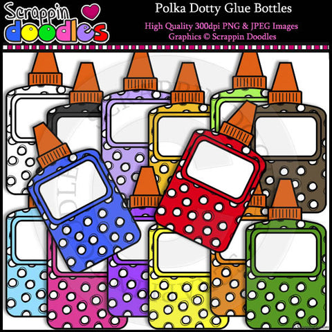 Polka Dotty Glue Bottles Clip Art & Line Art