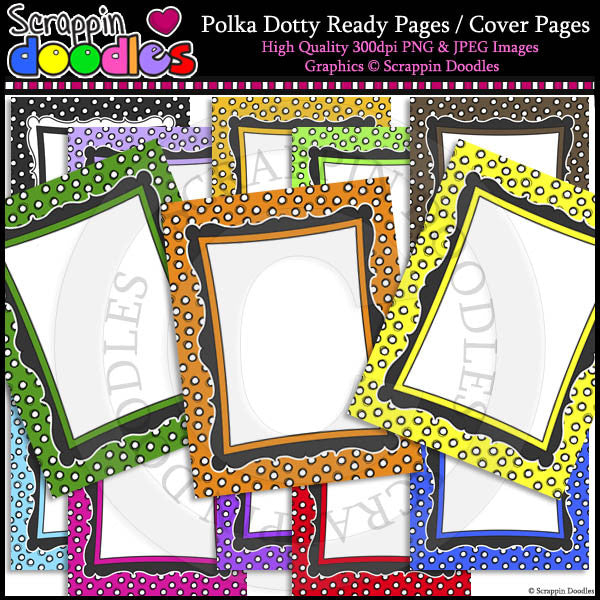 Polka Dotty 8 1/2 x 11 Ready / Cover Pages Color & LineArt