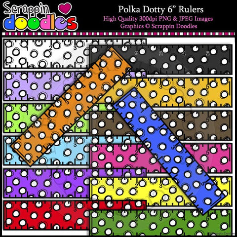 "Polka Dotty 6"" Rulers Clip Art & Line Art"