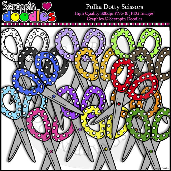 Polka Dotty Scissors Clip Art & Line Art