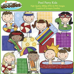 Pool Party Kids Clip Art Download