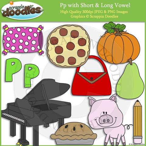 Pp Short and Long Vowel Clip Art and Line Art