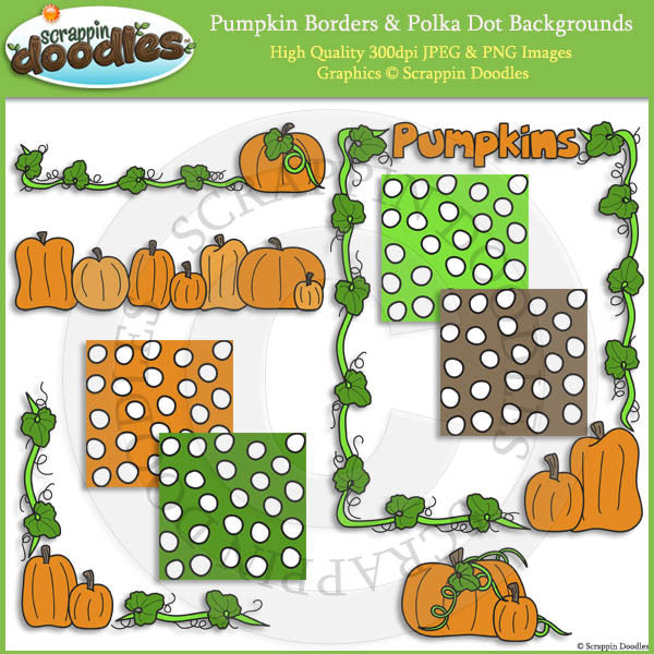 Pumpkin Borders & Polka Dot Backgrounds Clip Art & Line Art
