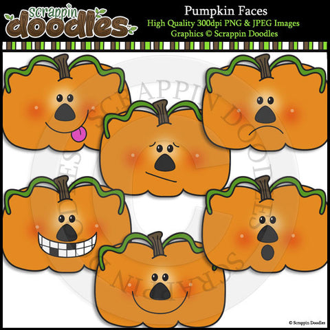 Pumpkin Faces Clip Art & Line Art