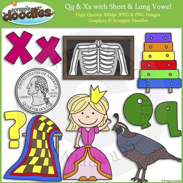 Qq & Xx Short and Long Vowel Clip Art and Line Art