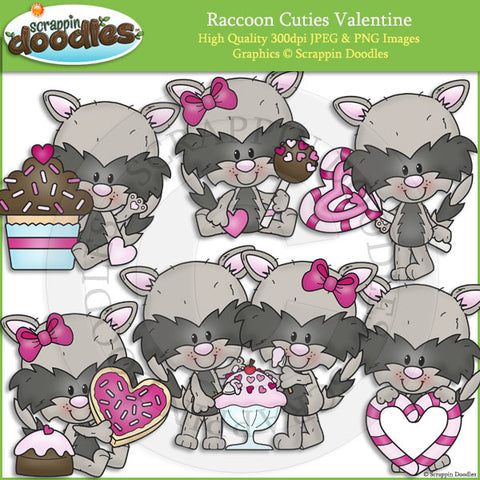 Raccoon Cuties Valentines Clip Art