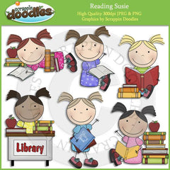 Reading Tommy & Susie Clip Art