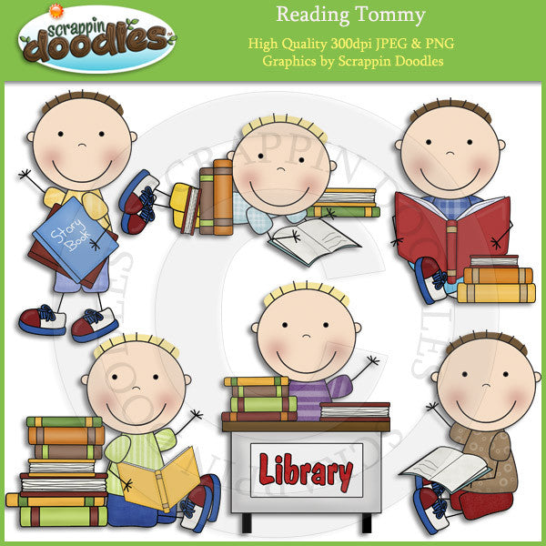 Reading Tommy Clip Art Download