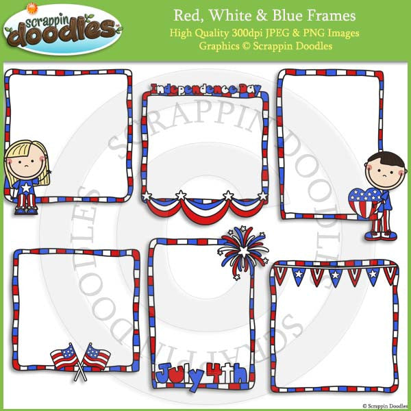 Red, White & Blue Frames / Borders with Line Art