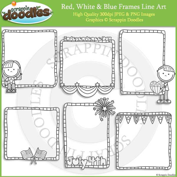 Red White Blue Frames Scrappin Doodles