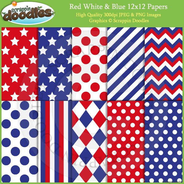Red, White & Blue 12x12 Backgrounds Download