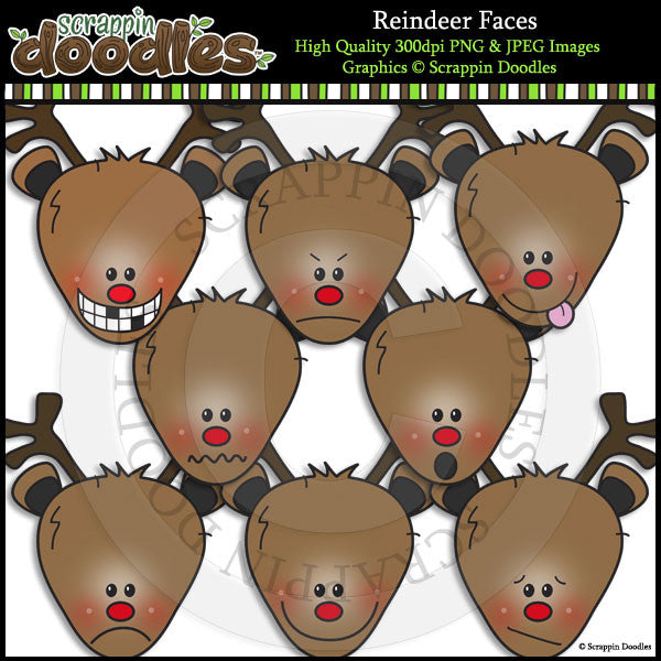 Reindeer Faces Clip Art & Line Art