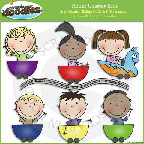 Roller Coaster Kids Clip Art