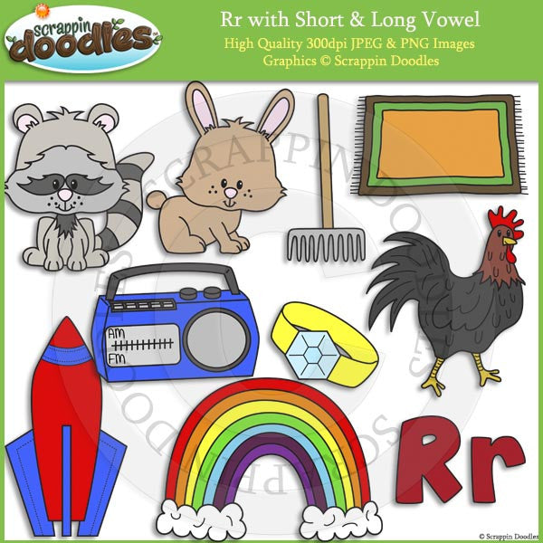 Rr Short and Long Vowel Clip Art and Line Art