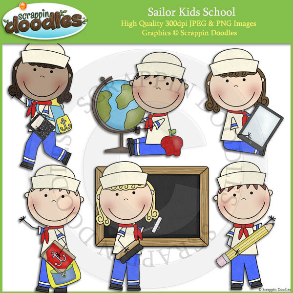 Sailor Kids School Clip Art