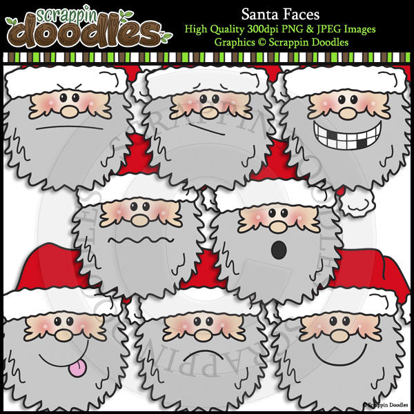 Santa Faces Clip Art & Line Art