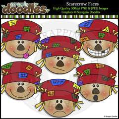 Scarecrow Faces Clip Art & Line Art