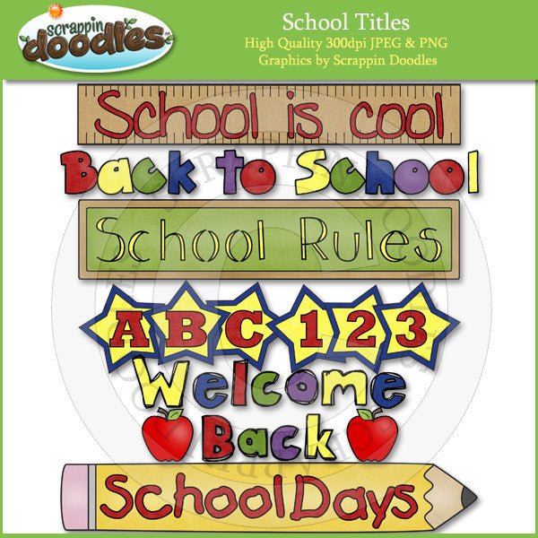 Back to School Titles Clip Art Download