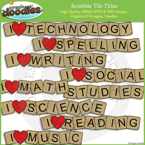 Scrabble Tile Titles Clip Art