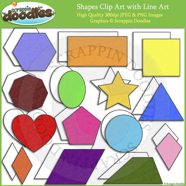 2D Shapes Clip Art  and Line ArtDownload