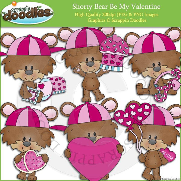 Shorty Bear Be My Valentine Clip Art
