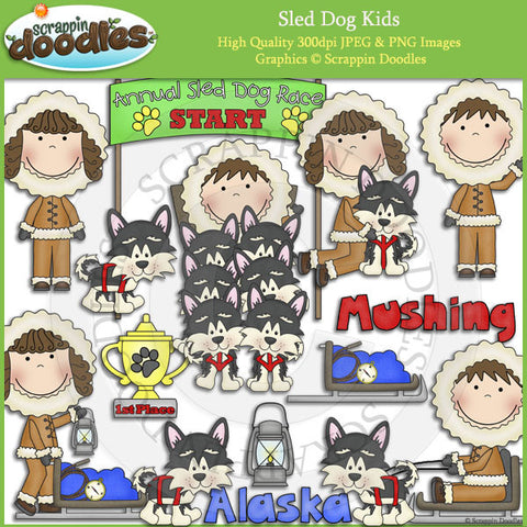 Sled Dog Kids Clip Art