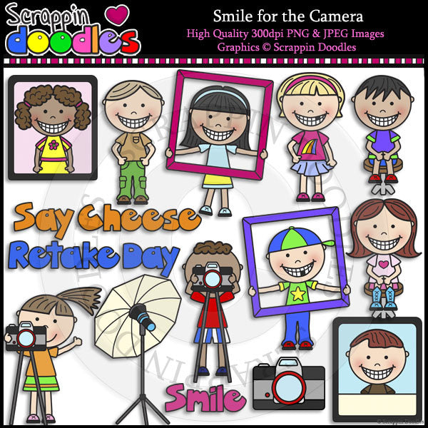 Smile for the Camera Clip Art & Line Art