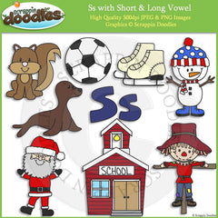 Ss Short and Long Vowel Clip Art and Line Art