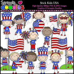 Stick Kids USA Clip Art & Line Art