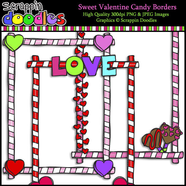 Sweet Valentine Candy Full Page Borders