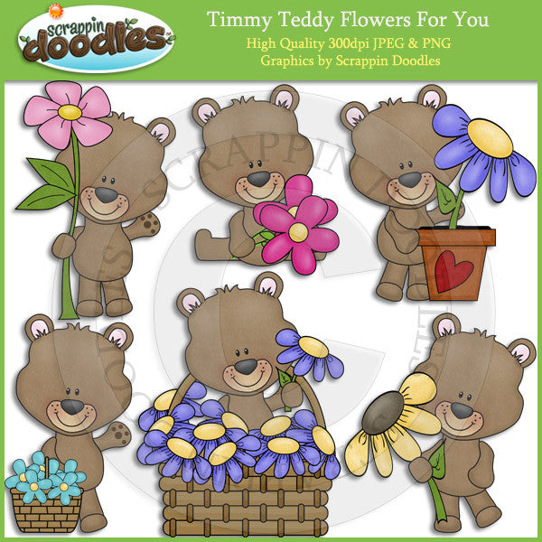 Flowers For You Teddy Clip Art Download