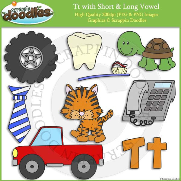 Tt Short and Long Vowel Clip Art and Line Art