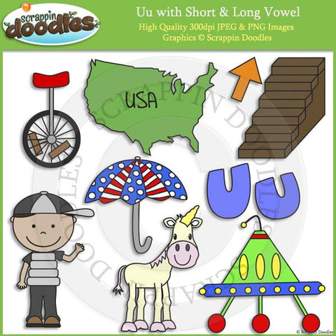 Uu Short and Long Vowel Clip Art and Line Art