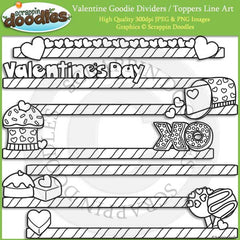 Valentine Goodie Dividers / Toppers Clip Art