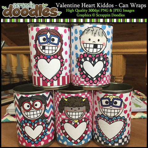 Valentine Heart Kiddos - Can Wraps