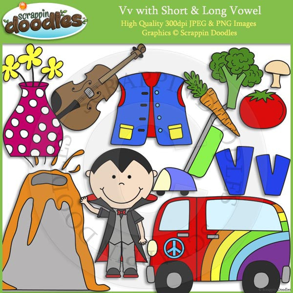 Vv Short and Long Vowel Clip Art and Line Art