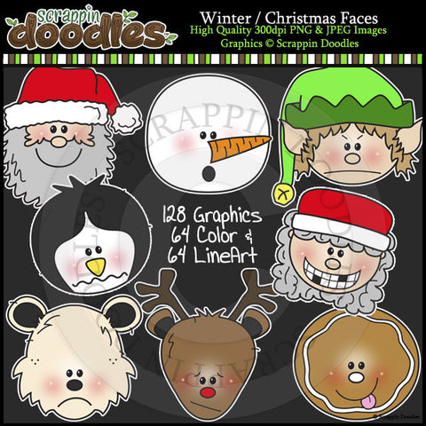 Winter / Christmas Faces BUNDLE Clip Art & Line Art