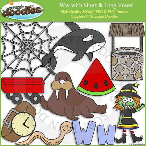 Ww Short and Long Vowel Clip Art and Line Art