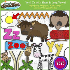 Yy & Zz Short and Long Vowel Clip Art and Line Art