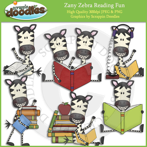 Zany Zebra Reading Fun Clip Art Download