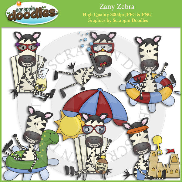 Zany Zebra Summer Fun Clip Art Download