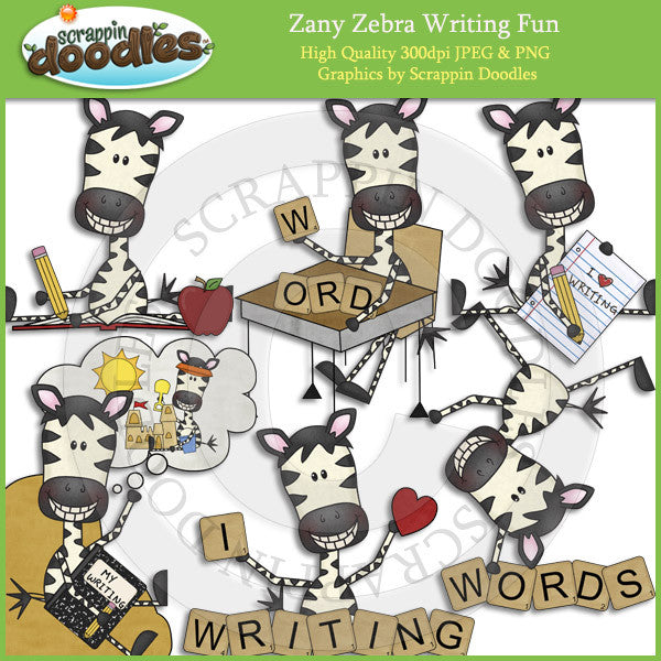 Zany Zebra Writing Fun Clip Art Download