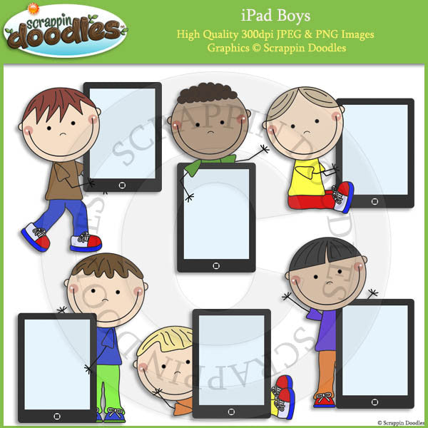 iPad Boys Clip Art