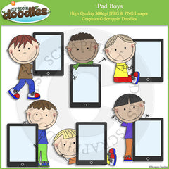 iPad Boys Clip Art kids holding iPad graphics