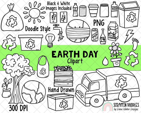 Earth Day Clipart - Earth Day Planner Doodles - Instant Download - Environmental Kids - Reduce Reuse Recycle Graphics - Eco Friendly ClipArt