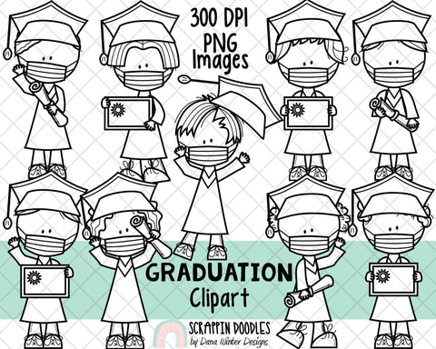Graduation ClipArt - Graduate Boys - Graduation Boy - Boys Wearing Masks - Graduation Kids in Masks - Sublimation Graphics - Hand Drawn PNG