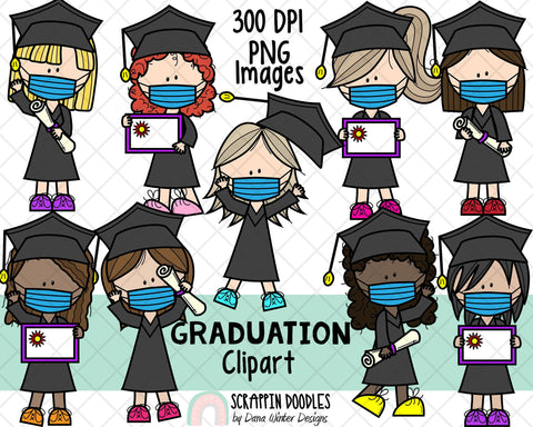 Graduation ClipArt - Graduate Girls - Graduation Girl - Girls Wearing Masks - Graduation Kids in Masks