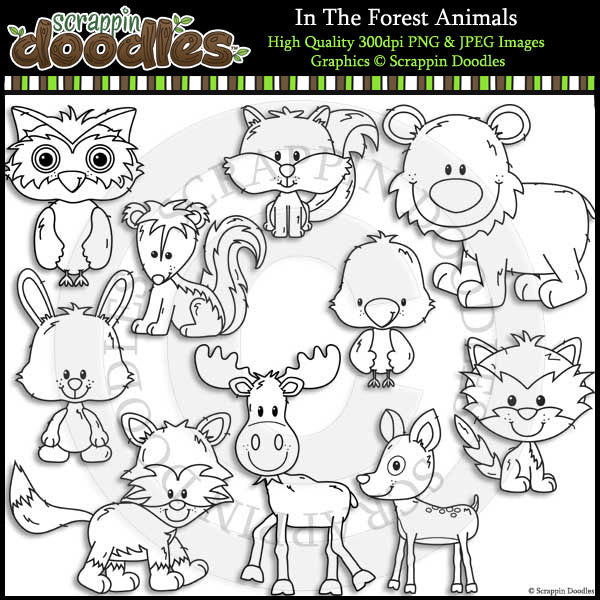In The Forest Animals Clip Art